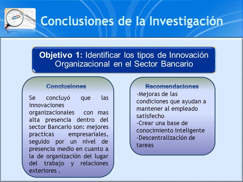 Objetivo 1: Identificar los tipos de Innovación Organizacional en el Sector Bancario Se concluyó que las innovaciones organizacionales con mas alta pr
