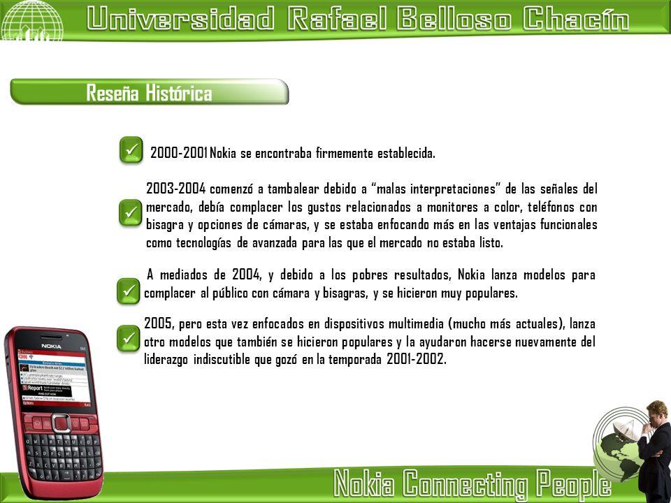 Reseña Histórica 2000-2001 Nokia se encontraba firmemente establecida. 2003-2004 comenzó a tambalear debido a malas interpretaciones de las señales de