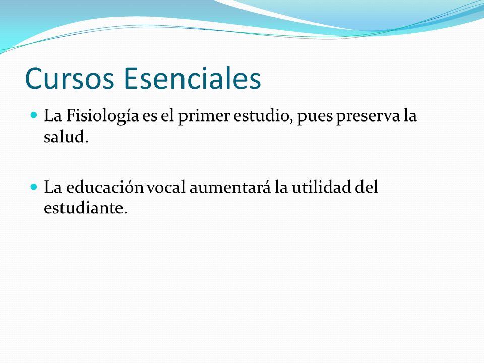 Cursos Esenciales La Fisiología es el primer estudio, pues preserva la salud. La educación vocal aumentará la utilidad del estudiante.