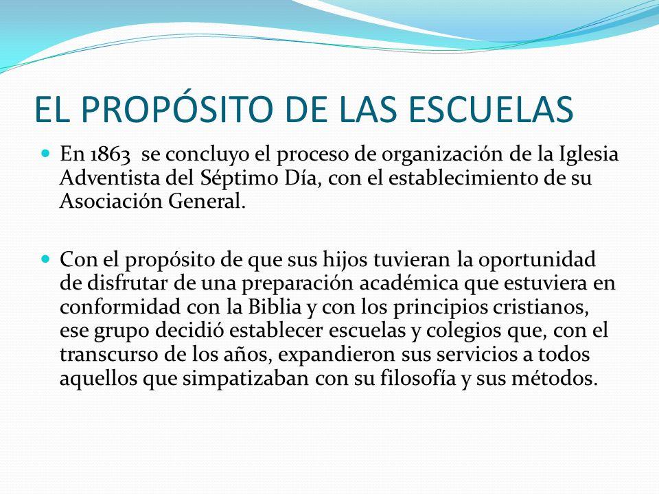 EL PROPÓSITO DE LAS ESCUELAS En 1863 se concluyo el proceso de organización de la Iglesia Adventista del Séptimo Día, con el establecimiento de su Aso