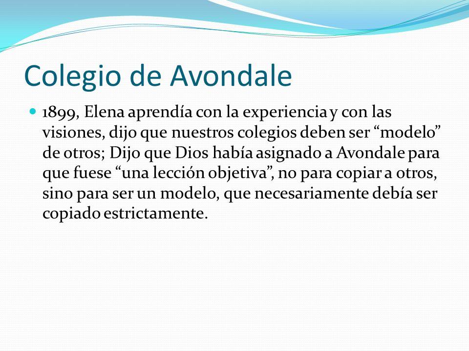 Colegio de Avondale 1899, Elena aprendía con la experiencia y con las visiones, dijo que nuestros colegios deben ser modelo de otros; Dijo que Dios ha