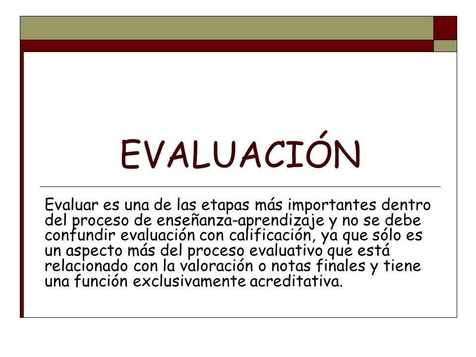 EVALUACIÓN Evaluar es una de las etapas más importantes dentro del proceso de enseñanza-aprendizaje y no se debe confundir evaluación con calificación
