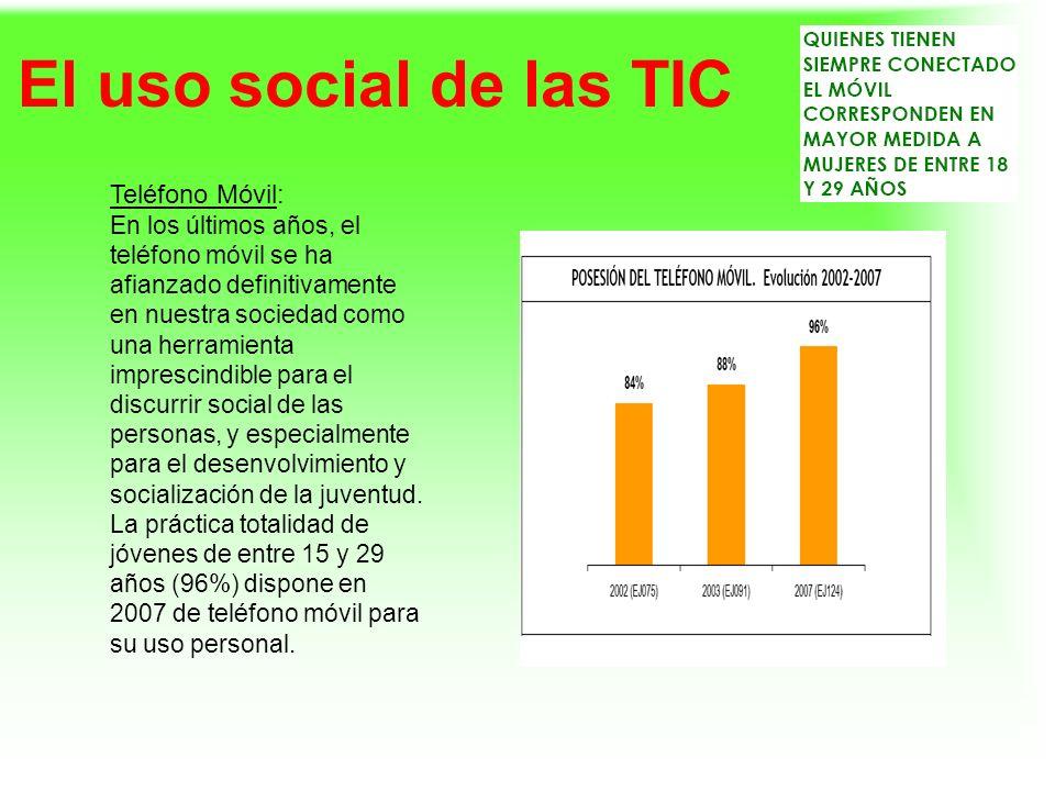El uso social de las TIC Teléfono Móvil: En los últimos años, el teléfono móvil se ha afianzado definitivamente en nuestra sociedad como una herramien