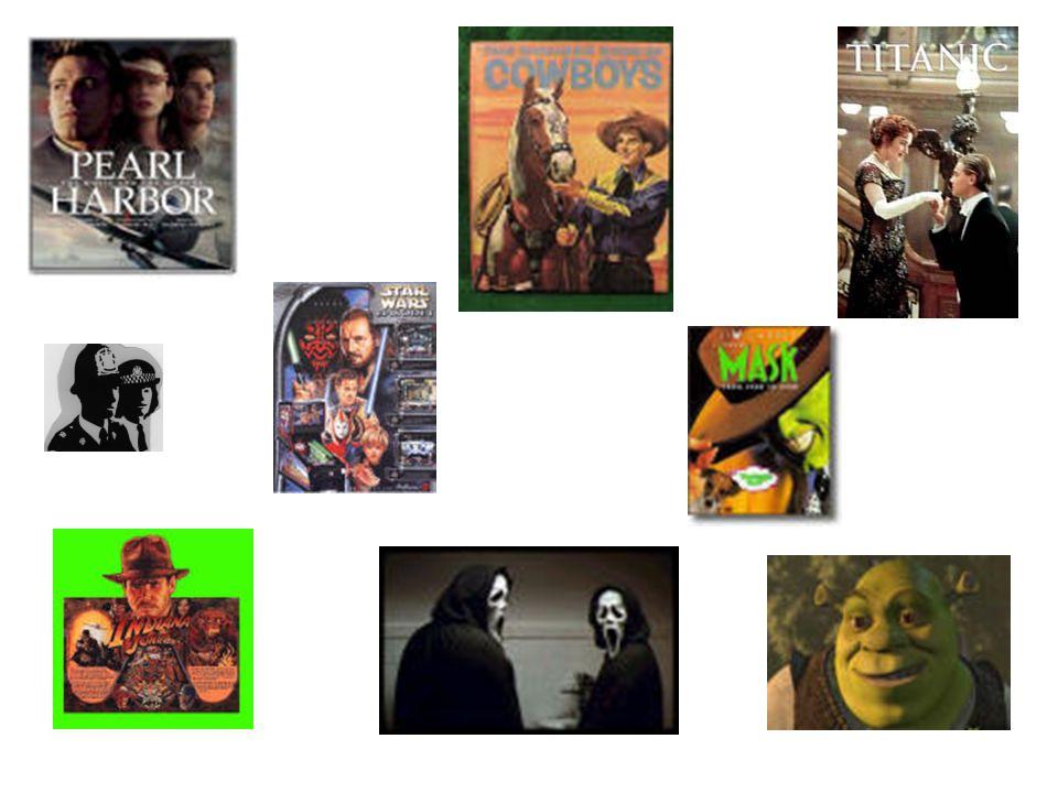 Me gustan mucho las películas románticas, de terror, de acción, de intriga, de guerra, del oeste, de dibujos animados, de aventuras, las policíacas y