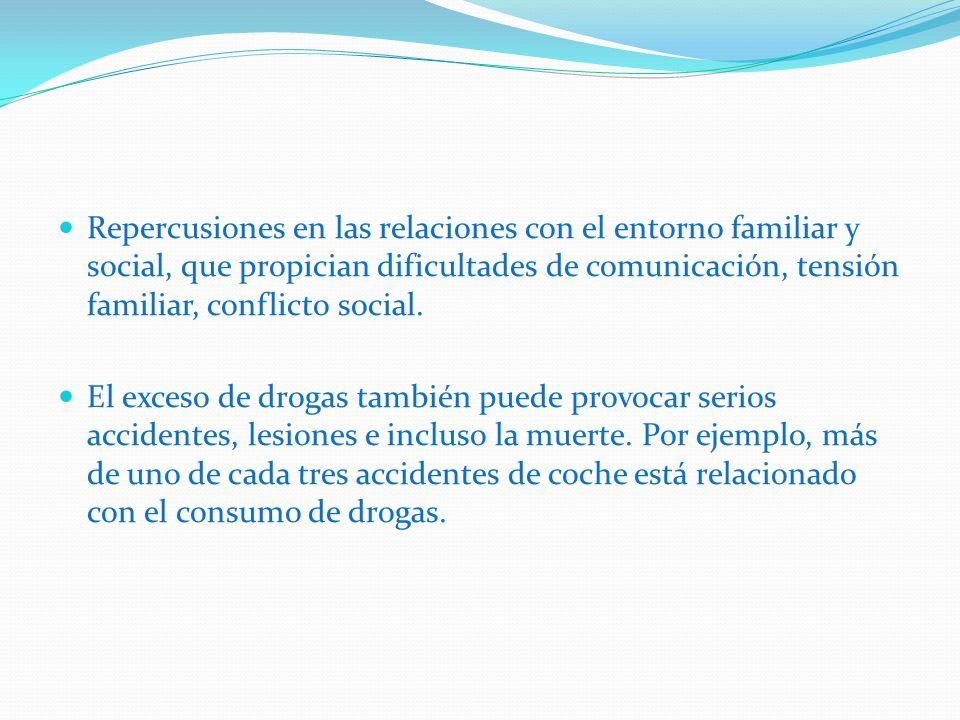 Repercusiones en las relaciones con el entorno familiar y social, que propician dificultades de comunicación, tensión familiar, conflicto social. El e
