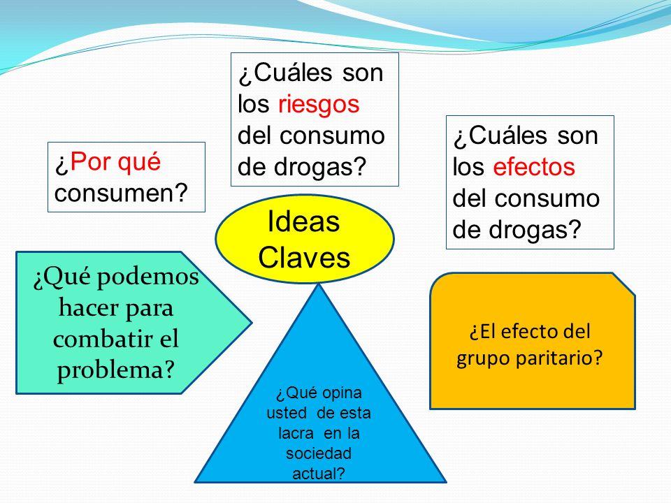 Ideas Claves ¿Por qué consumen? ¿Cuáles son los riesgos del consumo de drogas? ¿Cuáles son los efectos del consumo de drogas? ¿Qué opina usted de esta