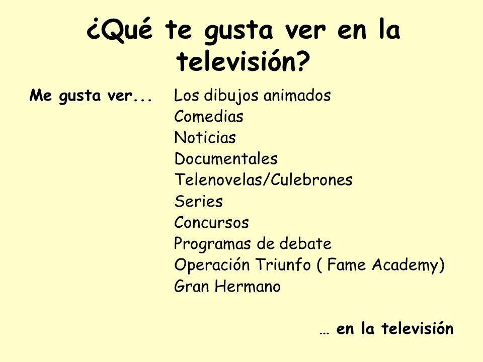 ¿Qué te gusta ver en la televisión? Me gusta ver... Me gusta ver... Los dibujos animados Comedias Noticias Documentales Telenovelas/Culebrones Series