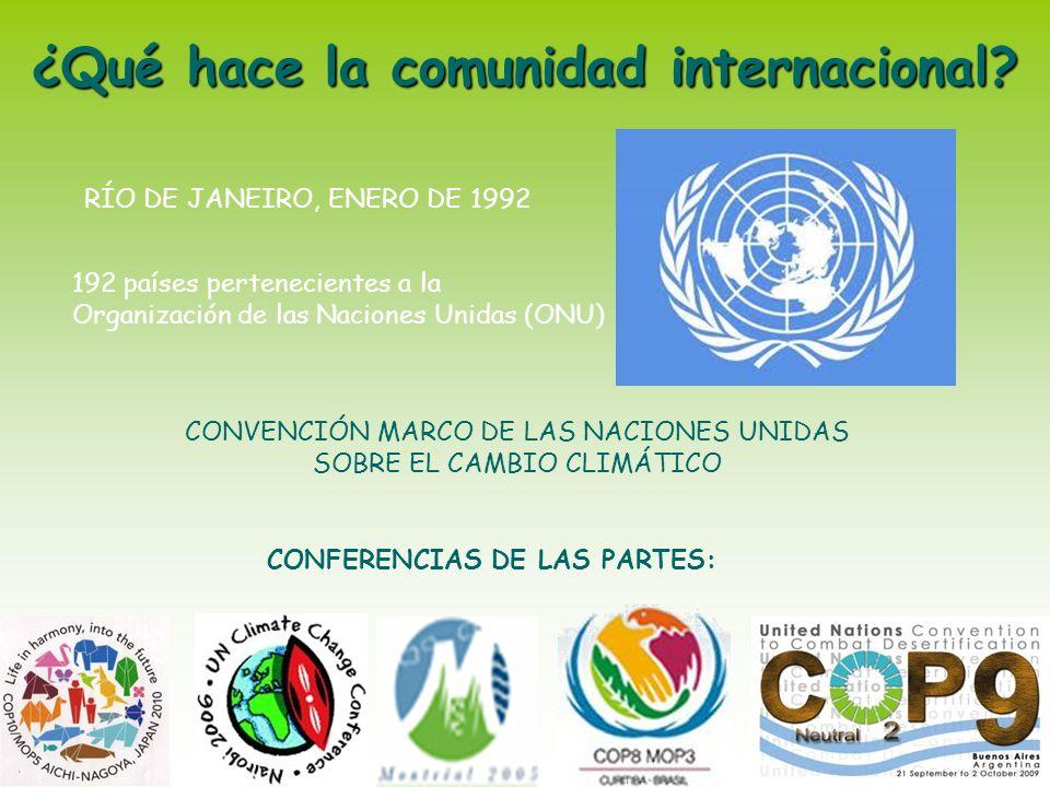 CONVENCIÓN MARCO DE LAS NACIONES UNIDAS SOBRE EL CAMBIO CLIMÁTICO RÍO DE JANEIRO, ENERO DE 1992 192 países pertenecientes a la Organización de las Nac