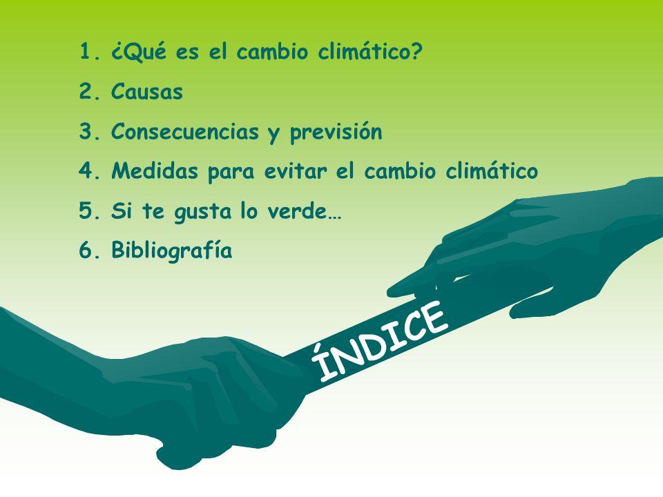 ÍNDICE 1.¿Qué es el cambio climático? 2.Causas 3.Consecuencias y previsión 4.Medidas para evitar el cambio climático 5.Si te gusta lo verde… 6.Bibliog
