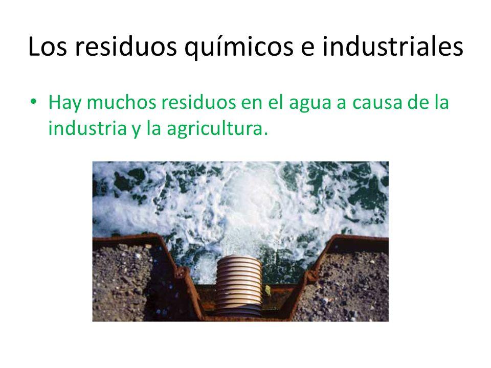 Los residuos químicos e industriales Hay muchos residuos en el agua a causa de la industria y la agricultura.