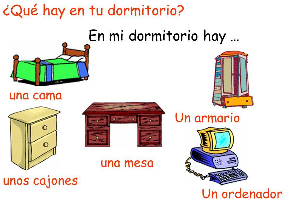 ¿Qué hay en tu dormitorio? En mi dormitorio hay … unos cajones Un armario una cama Un ordenador una mesa