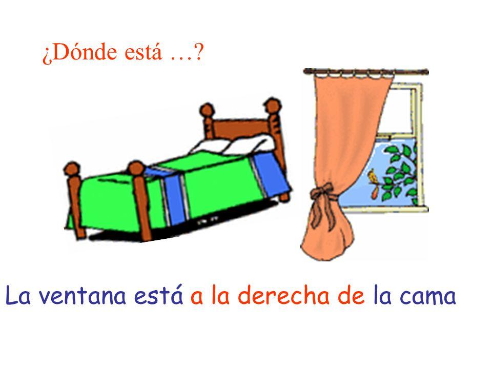 ¿Dónde está …? La ventana está a la derecha de la cama