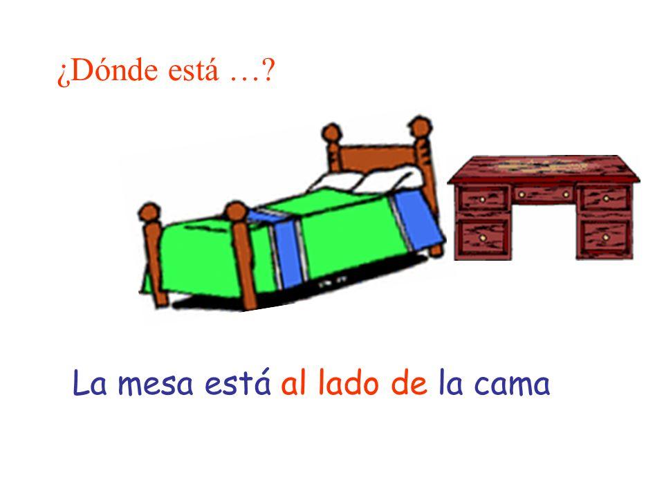 ¿Dónde está …? La mesa está al lado de la cama
