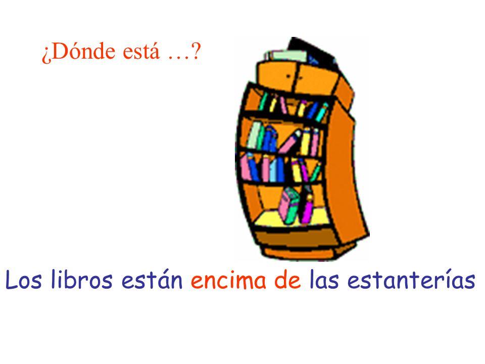 ¿Dónde está …? Los libros están encima de las estanterías