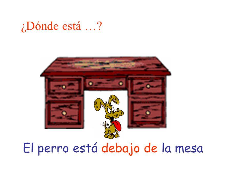 ¿Dónde está …? El perro está debajo de la mesa