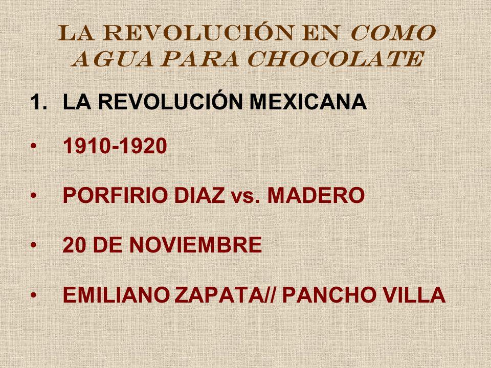 1.LA REVOLUCIÓN MEXICANA 1910-1920 PORFIRIO DIAZ vs. MADERO 20 DE NOVIEMBRE EMILIANO ZAPATA// PANCHO VILLA