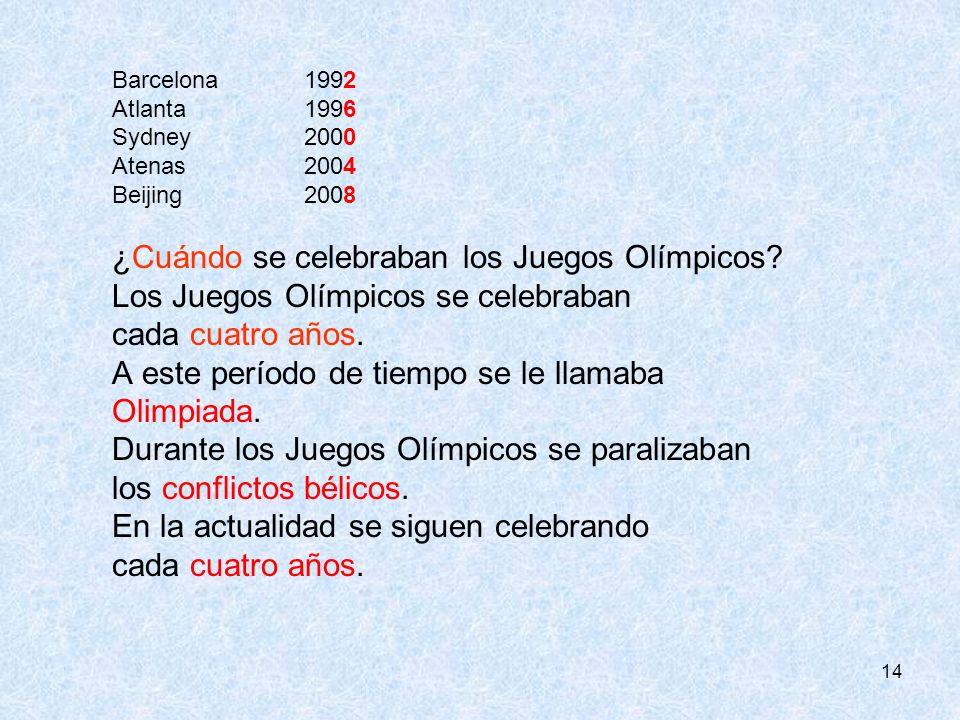 14 Barcelona 1992 Atlanta1996 Sydney 2000 Atenas2004 Beijing 2008 ¿Cuándo se celebraban los Juegos Olímpicos? Los Juegos Olímpicos se celebraban cada