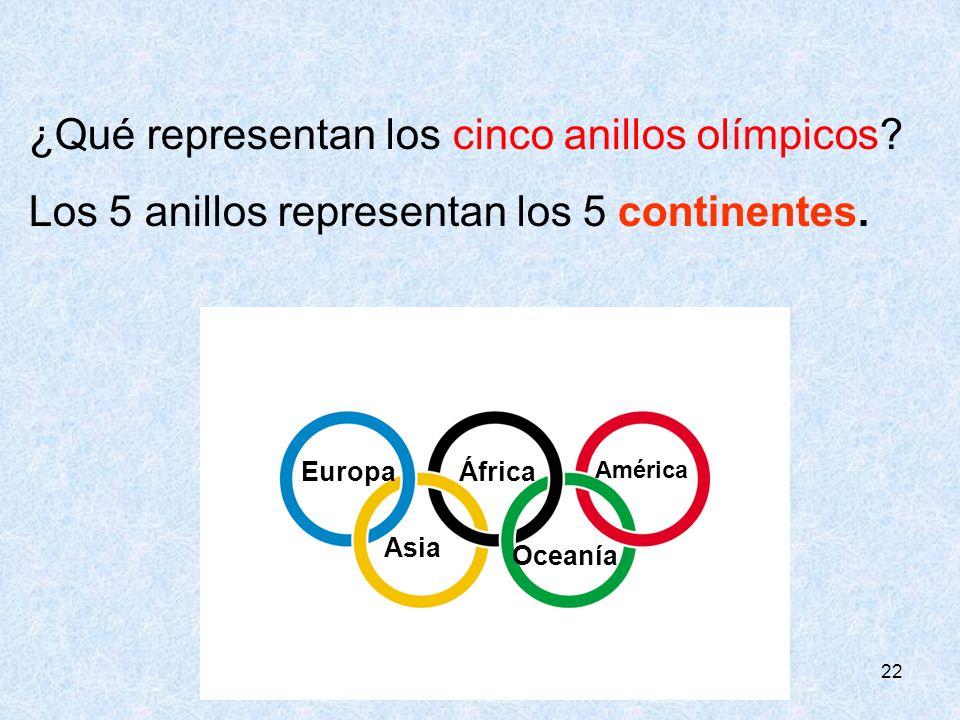 22 ¿Qué representan los cinco anillos olímpicos? Los 5 anillos representan los 5 continentes. EuropaÁfrica América Asia Oceanía
