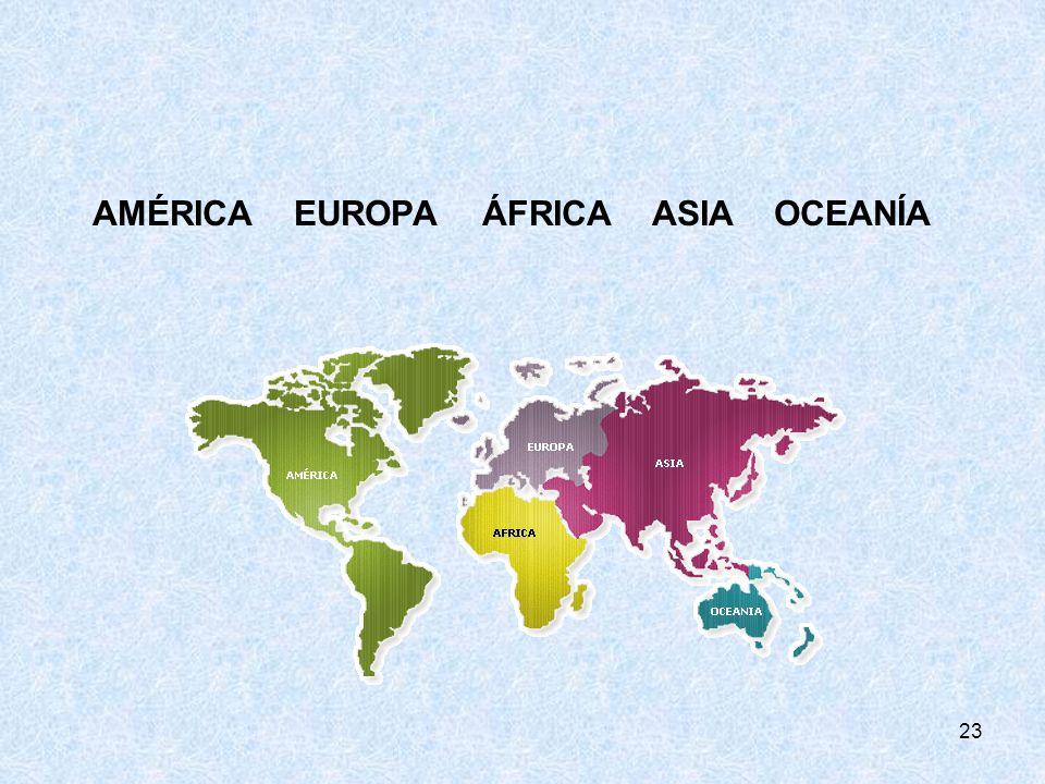 23 AMÉRICA EUROPA ÁFRICA ASIA OCEANÍA