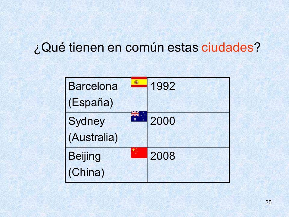 25 ¿Qué tienen en común estas ciudades? Barcelona (España) 1992 Sydney (Australia) 2000 Beijing (China) 2008
