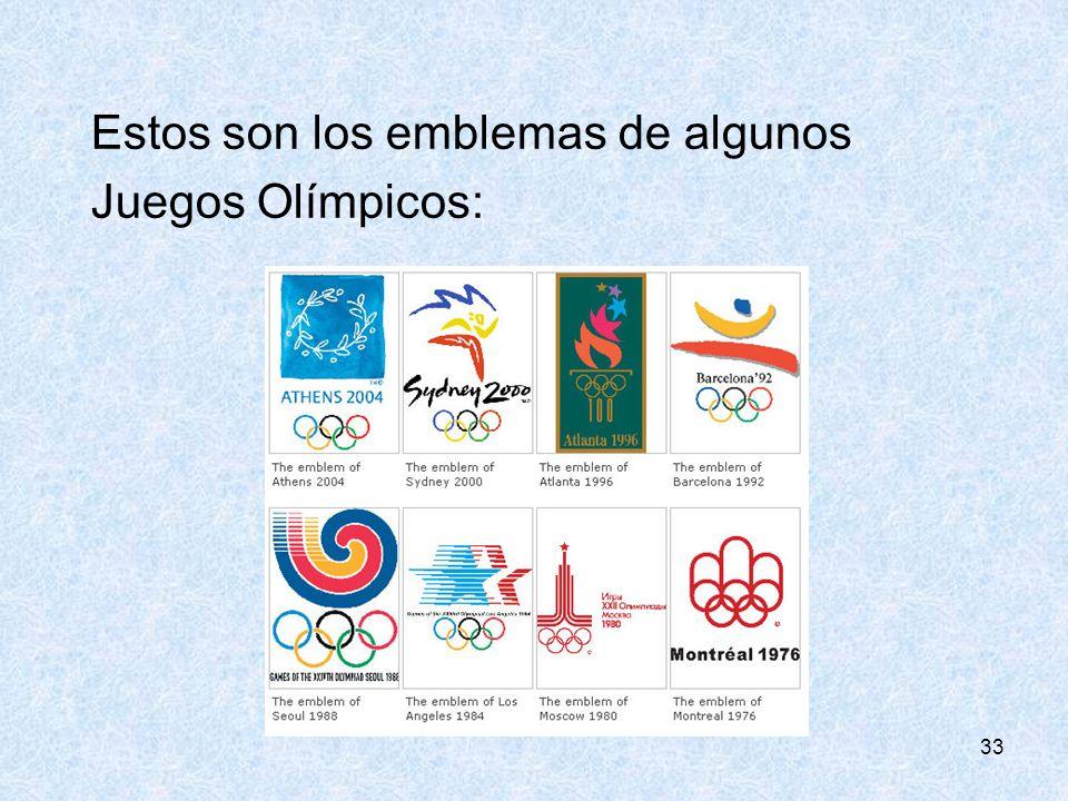 33 Estos son los emblemas de algunos Juegos Olímpicos: