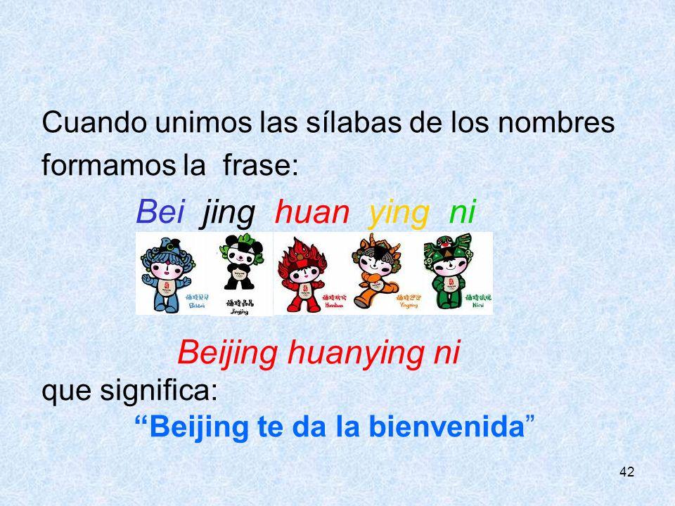 42 Cuando unimos las sílabas de los nombres formamos la frase: Bei jing huan ying ni que significa: Beijing te da la bienvenida
