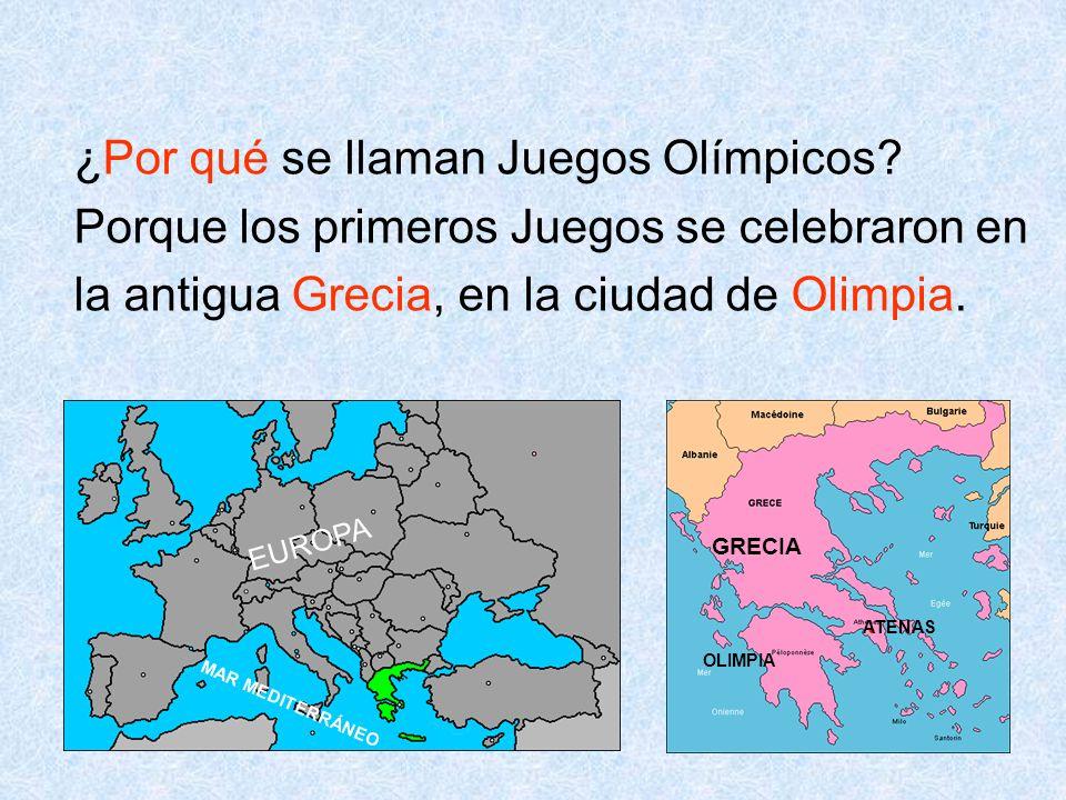 6 ¿Por qué se llaman Juegos Olímpicos? Porque los primeros Juegos se celebraron en la antigua Grecia, en la ciudad de Olimpia. GRECIA ATENAS OLIMPIA E