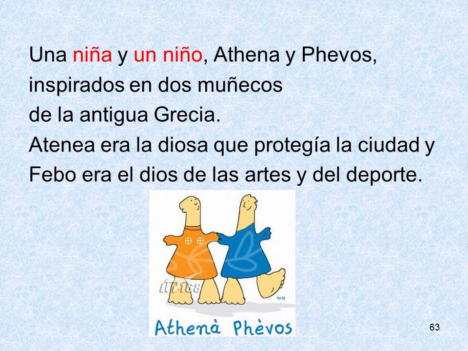 63 Una niña y un niño, Athena y Phevos, inspirados en dos muñecos de la antigua Grecia. Atenea era la diosa que protegía la ciudad y Febo era el dios