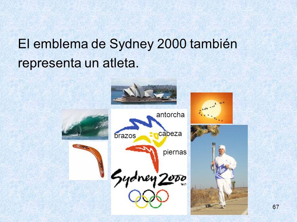 67 El emblema de Sydney 2000 también representa un atleta. antorcha piernas cabeza brazos