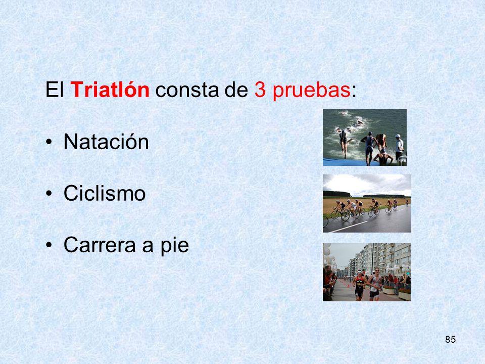 85 El Triatlón consta de 3 pruebas: Natación Ciclismo Carrera a pie