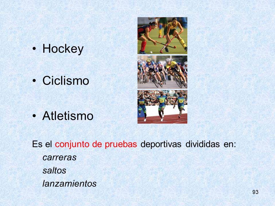 93 Hockey Ciclismo Atletismo Es el conjunto de pruebas deportivas divididas en: carreras saltos lanzamientos