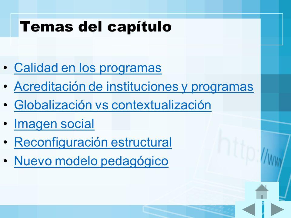 Temas del capítulo Calidad en los programas Acreditación de instituciones y programas Globalización vs contextualización Imagen social Reconfiguración