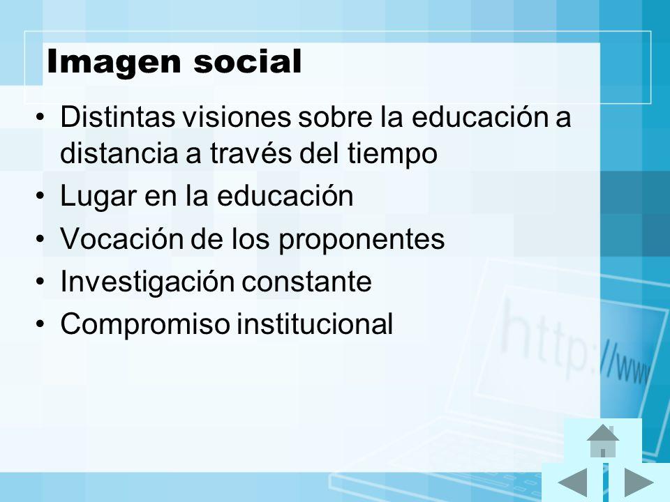 Imagen social Distintas visiones sobre la educación a distancia a través del tiempo Lugar en la educación Vocación de los proponentes Investigación co