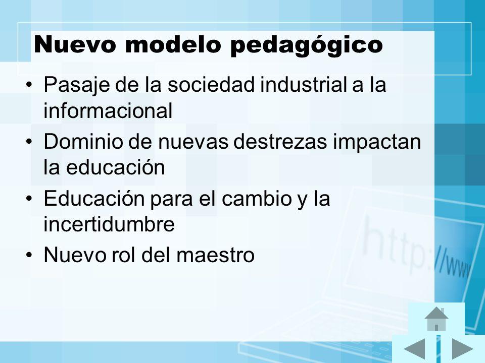 Nuevo modelo pedagógico Pasaje de la sociedad industrial a la informacional Dominio de nuevas destrezas impactan la educación Educación para el cambio