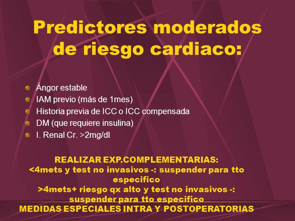 Predictores moderados de riesgo cardiaco: Ángor estable IAM previo (más de 1mes) Historia previa de ICC o ICC compensada DM (que requiere insulina) I.