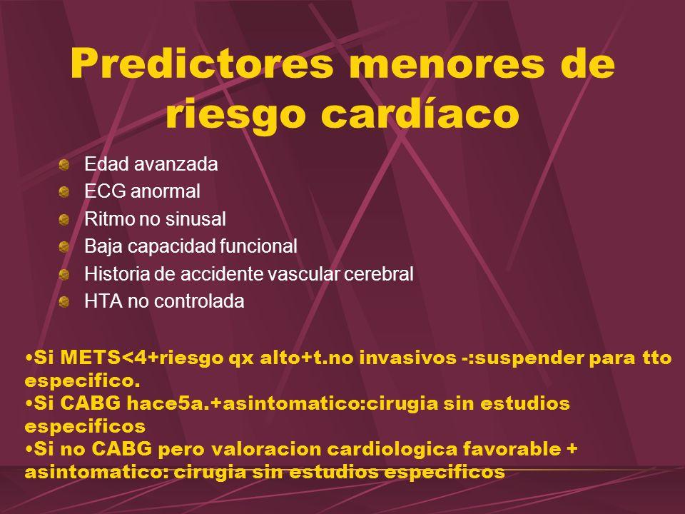 Predictores menores de riesgo cardíaco Edad avanzada ECG anormal Ritmo no sinusal Baja capacidad funcional Historia de accidente vascular cerebral HTA
