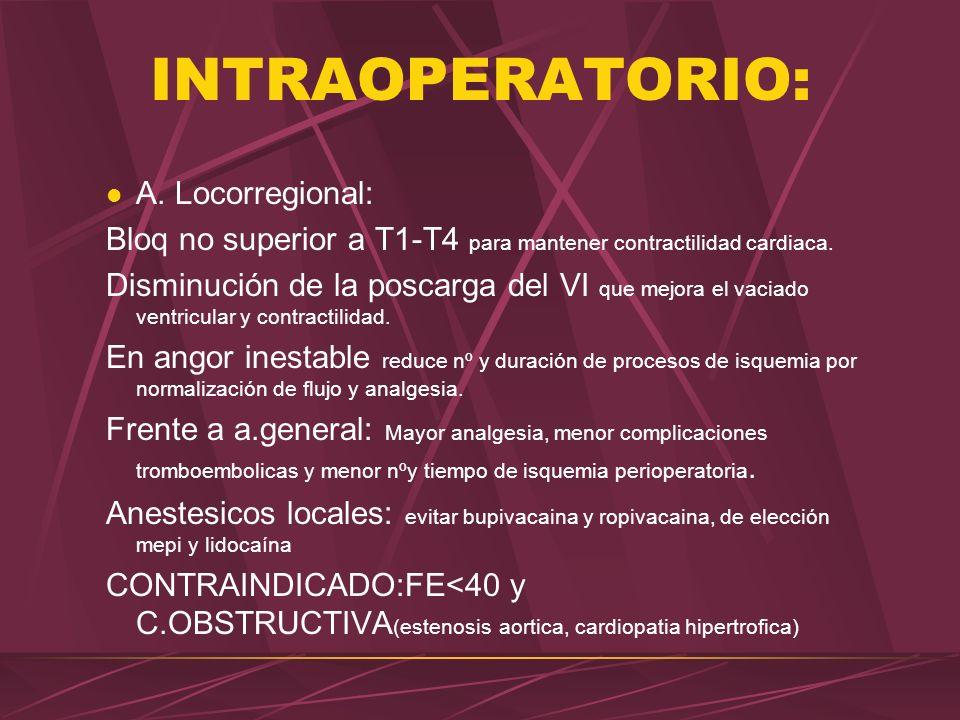 INTRAOPERATORIO: A. Locorregional: Bloq no superior a T1-T4 para mantener contractilidad cardiaca. Disminución de la poscarga del VI que mejora el vac