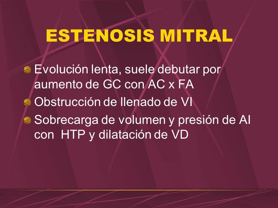 ESTENOSIS MITRAL Evolución lenta, suele debutar por aumento de GC con AC x FA Obstrucción de llenado de VI Sobrecarga de volumen y presión de AI con H
