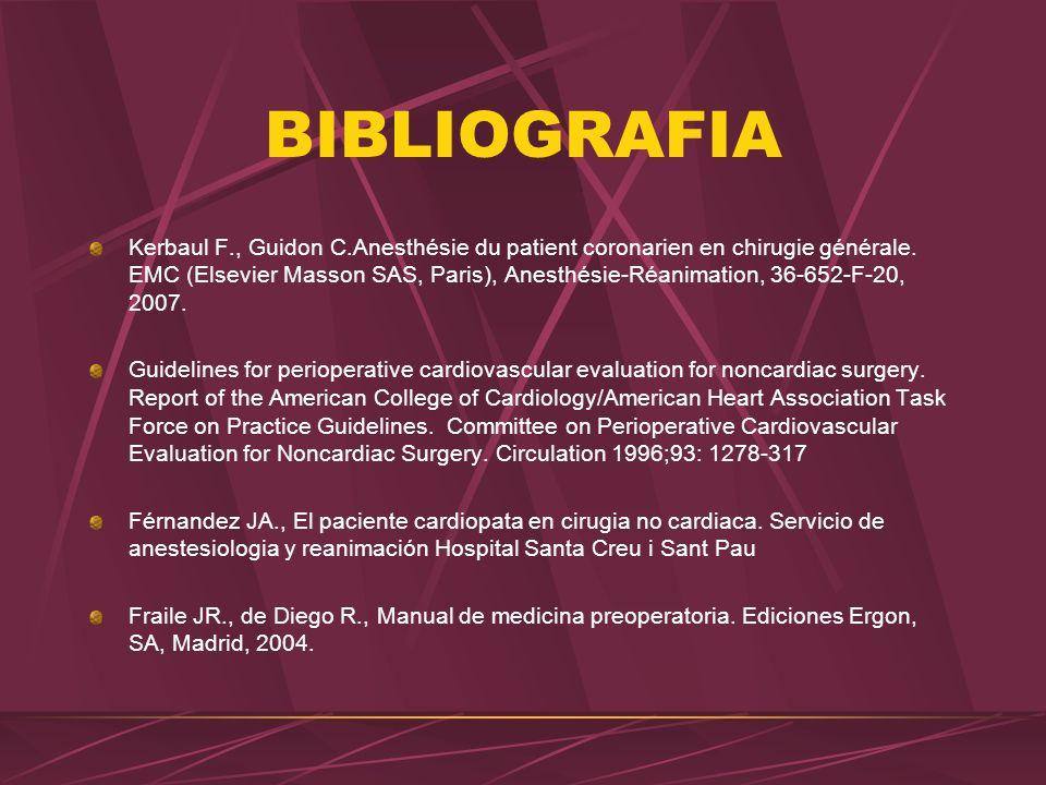 BIBLIOGRAFIA Kerbaul F., Guidon C.Anesthésie du patient coronarien en chirugie générale. EMC (Elsevier Masson SAS, Paris), Anesthésie-Réanimation, 36-