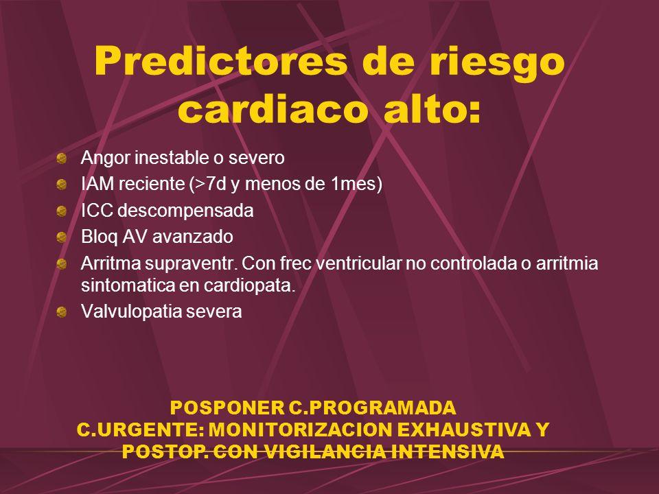 Predictores de riesgo cardiaco alto: Angor inestable o severo IAM reciente (>7d y menos de 1mes) ICC descompensada Bloq AV avanzado Arritma supraventr