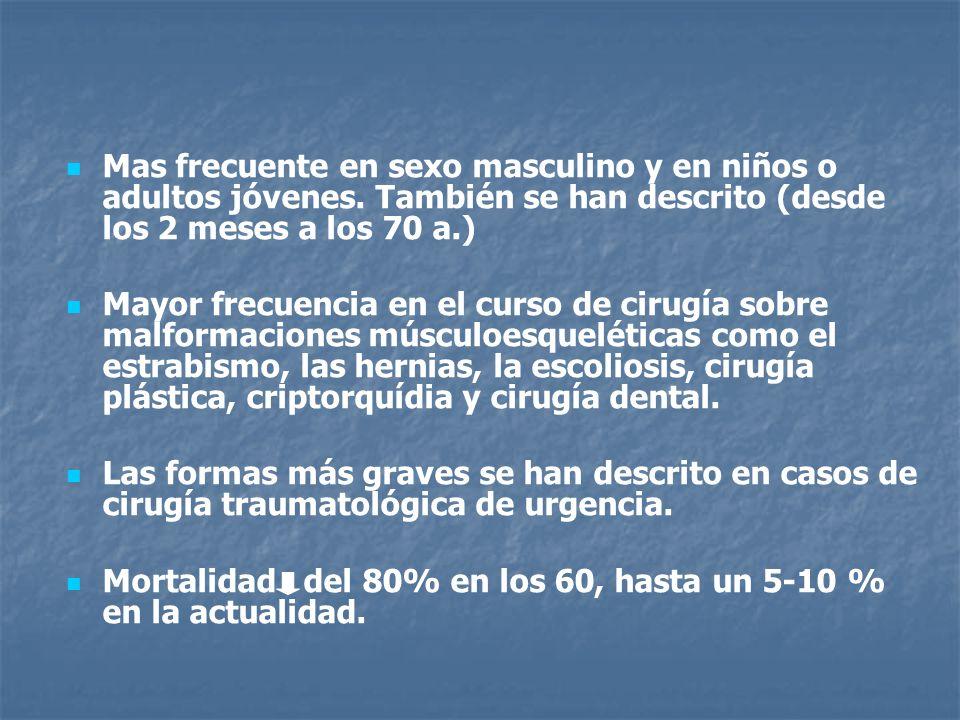 Mas frecuente en sexo masculino y en niños o adultos jóvenes. También se han descrito (desde los 2 meses a los 70 a.) Mayor frecuencia en el curso de
