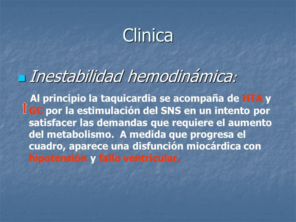 Clinica Inestabilidad hemodinámica : Inestabilidad hemodinámica : Al principio la taquicardia se acompaña de HTA y GC por la estimulación del SNS en u