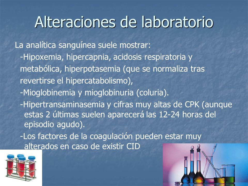 Alteraciones de laboratorio La analítica sanguínea suele mostrar: -Hipoxemia, hipercapnia, acidosis respiratoria y metabólica, hiperpotasemia (que se