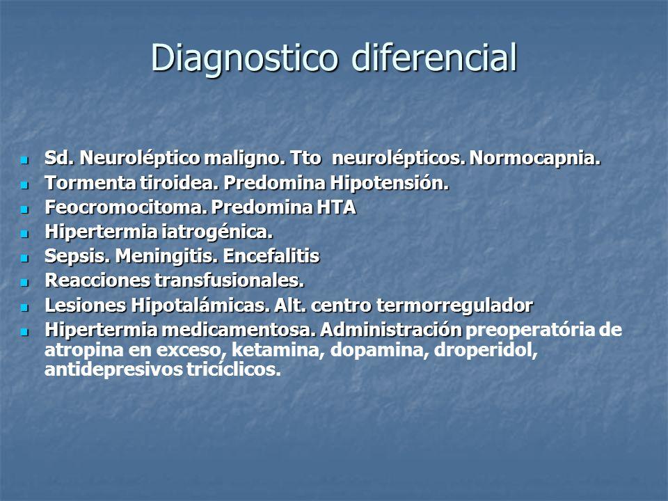 Diagnostico diferencial Sd. Neuroléptico maligno. Tto neurolépticos. Normocapnia. Sd. Neuroléptico maligno. Tto neurolépticos. Normocapnia. Tormenta t