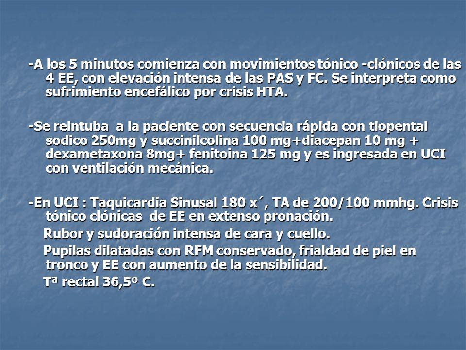 - Se pide TAC craneal por sospecha de sufrimiento tronco-encefálico por crisis HTA, que es normal.