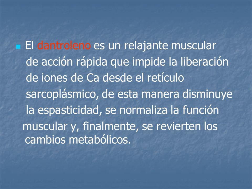 El dantroleno es un relajante muscular de acción rápida que impide la liberación de iones de Ca desde el retículo sarcoplásmico, de esta manera dismin