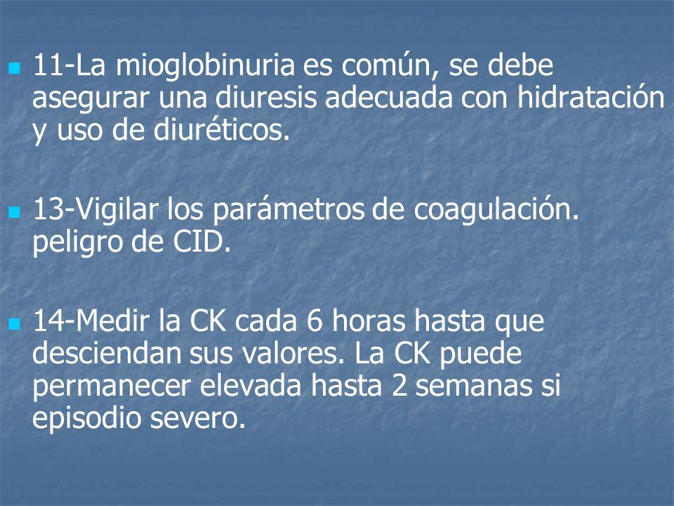 11-La mioglobinuria es común, se debe asegurar una diuresis adecuada con hidratación y uso de diuréticos. 13-Vigilar los parámetros de coagulación. pe
