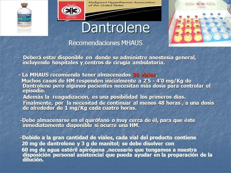Dantrolene - Deberá estar disponible en donde se administre anestesia general, incluyendo hospitales y centros de cirugía ambulatoria. - Deberá estar