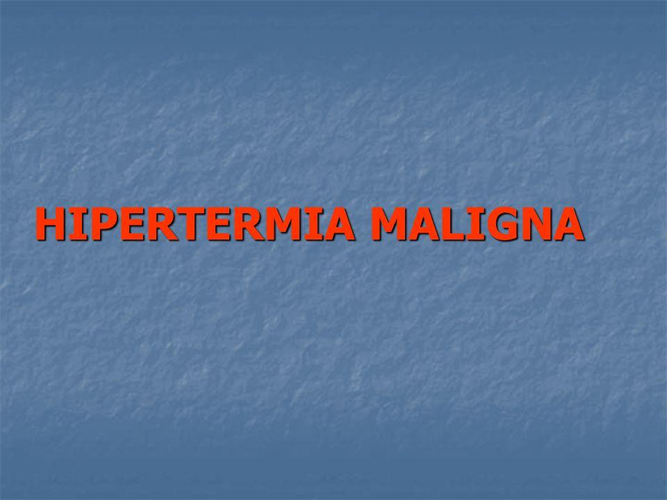 Predictores clinicos Rigidez Muscular Rigidez generalizada 15 Rigidez del masetero 15 Mionecrosis CPK 20000 15 CPK 1000 15 Coluria 10 Mioglobina en orina 60 μg 5 Potasio mEq L 3 Acidosis respiratoria PaCO2 60 mmhg 15 ETCO2 55 mmHg con VC 15 ETCO2 60 mmHg con VE 15 Hipercarbia 15 Taquipnea 15 Incremento temperatura Incremento rápido 15 Temperatura 38.8 10 Compromiso Cardiaco Taquicardia 3 TV o FV 3 Escala de Larach