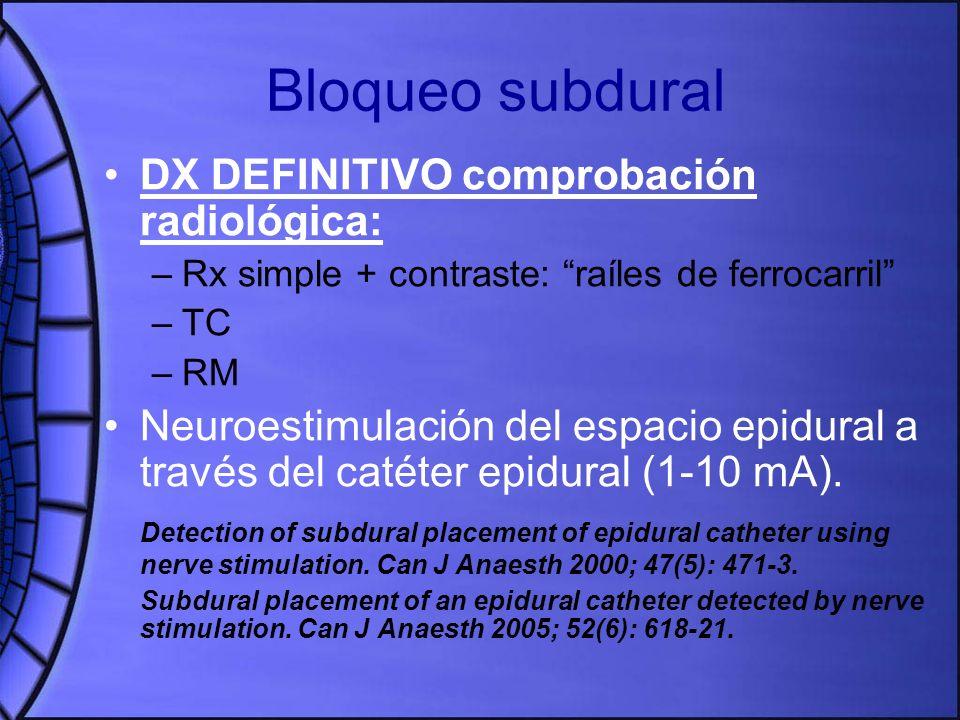 Bloqueo subdural DX DEFINITIVO comprobación radiológica: –Rx simple + contraste: raíles de ferrocarril –TC –RM Neuroestimulación del espacio epidural